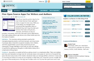 http://ostatic.com/blog/five-open-source-apps-for-writers-and-authors