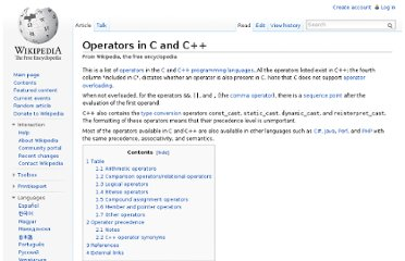 http://en.wikipedia.org/wiki/Operators_in_C_and_C%2B%2B