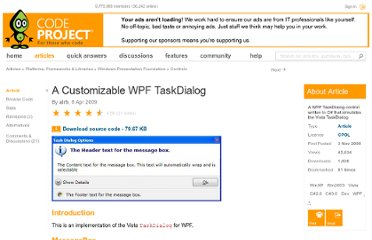http://www.codeproject.com/Articles/30649/A-Customizable-WPF-TaskDialog