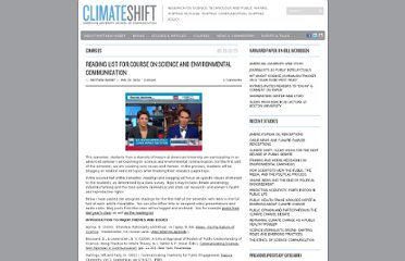 http://climateshiftproject.org/2012/02/10/reading-list-for-course-on-science-and-environmental-communication/