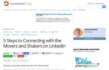 http://socialmediatoday.com/davidjohnson4/443784/linkedin-5-steps-connecting-movers-and-shakers