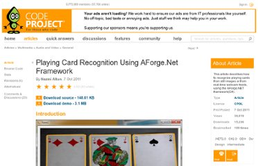 http://www.codeproject.com/Articles/265354/Playing-Card-Recognition-Using-AForge-Net-Framewor