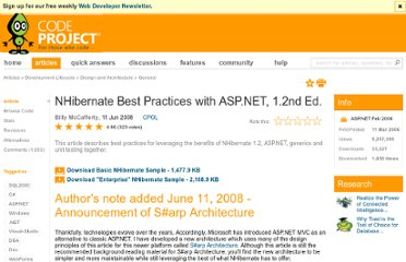 http://www.codeproject.com/Articles/13390/NHibernate-Best-Practices-with-ASP-NET-1-2nd-Ed