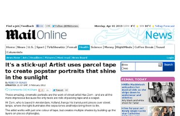 http://www.dailymail.co.uk/news/article-2098947/Its-stick-Artist-uses-parcel-tape-create-popstar-portraits-shine-sunlight.html
