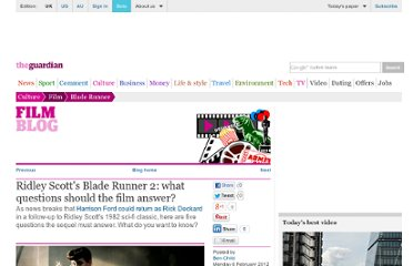 http://www.guardian.co.uk/film/filmblog/2012/feb/06/ridley-scott-blade-runner-sequel