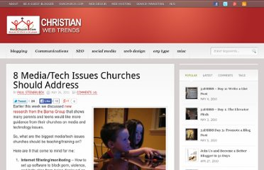 http://blog.ourchurch.com/2011/05/26/8-mediatech-issues-churches-should-address/