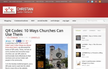 http://blog.ourchurch.com/2011/03/04/qr-codes-10-ways-churches-can-use-them/