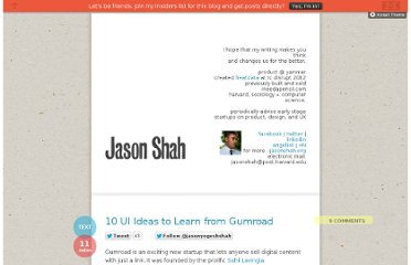 http://blog.jasonshah.org/post/17385407466/10-ui-ideas-to-learn-from-gumroad