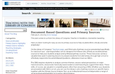 http://blogs.loc.gov/teachers/2012/02/document-based-questions-and-primary-sources/
