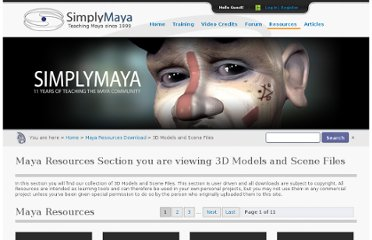 http://simplymaya.com/autodesk-maya-resource/3d-models-and-scene-files/rid/1/page/0/#pagenav