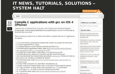 http://blog.syshalt.net/index.php/2010/09/12/compile-c-applications-with-gcc-on-ios-4-iphone/