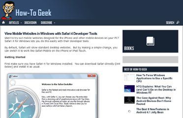 http://www.howtogeek.com/howto/12663/view-mobile-websites-in-windows-with-safari-4-developer-tools/