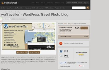 http://themeforest.net/item/wptraveller-wordpress-travel-photo-blog/909546