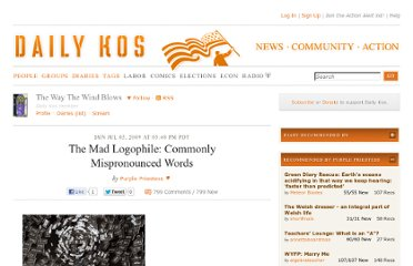 http://www.dailykos.com/story/2009/07/05/747963/-The-Mad-Logophile-Commonly-Mispronounced-Words