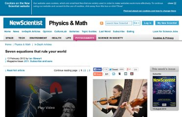 http://www.newscientist.com/article/mg21328516.600-seven-equations-that-rule-your-world.html