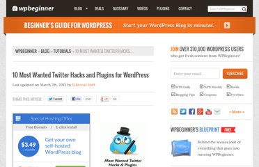 http://www.wpbeginner.com/wp-tutorials/most-wanted-twitter-hacks-and-plugins-for-wordpress/