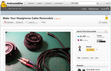 http://www.instructables.com/id/Make-Your-Headphone-Cable-Removable/