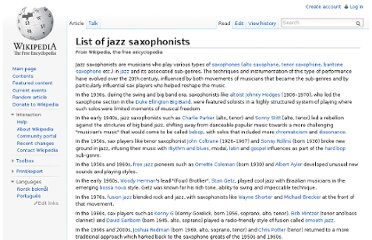 http://en.wikipedia.org/wiki/List_of_jazz_saxophonists