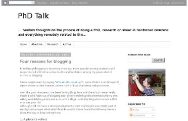 http://phdtalk.blogspot.com/2011/11/four-reasons-for-blogging.html