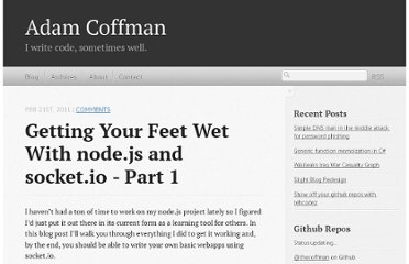 http://thecoffman.com/2011/02/21/getting-your-feet-wet-with-node.js-and-socket.io