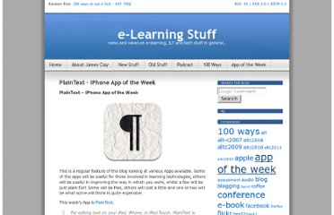 http://elearningstuff.net/2012/02/14/plaintext-iphone-app-of-the-week/
