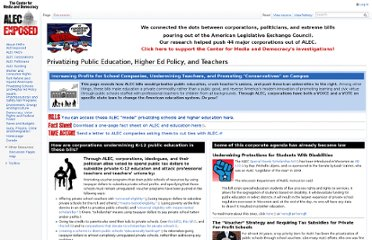 http://alecexposed.org/wiki/Privatizing_Public_Education,_Higher_Ed_Policy,_and_Teachers