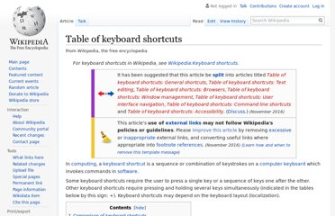 http://en.wikipedia.org/wiki/Table_of_keyboard_shortcuts
