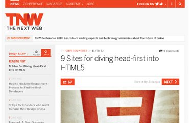 http://thenextweb.com/dd/2012/02/14/9-sites-for-diving-head-first-into-html5/