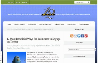 http://12most.com/2012/02/14/12-beneficia-ways-businesses-engage-twitter/