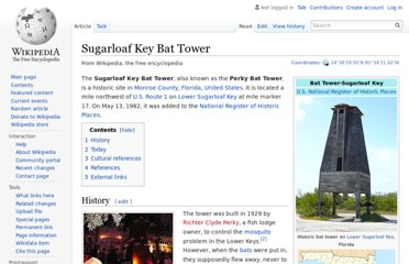 http://en.wikipedia.org/wiki/Sugarloaf_Key_Bat_Tower