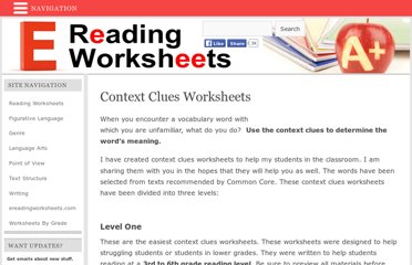 http://www.ereadingworksheets.com/free-reading-worksheets/reading-comprehension-worksheets/context-clues-worksheets/