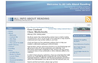 http://www.allinfoaboutreading.com/free-context-clues-worksheets/