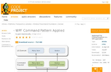 http://www.codeproject.com/Articles/25445/WPF-Command-Pattern-Applied