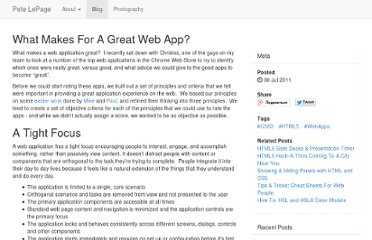 http://petelepage.com/blog/2011/07/what-makes-for-a-great-web-app/
