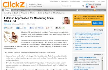 http://www.clickz.com/clickz/column/2152418/unique-approaches-measuring-social-media-roi