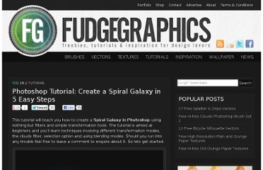 http://www.fudgegraphics.com/2010/02/photoshop-tutorial-create-a-spiral-galaxy-in-5-easy-steps/