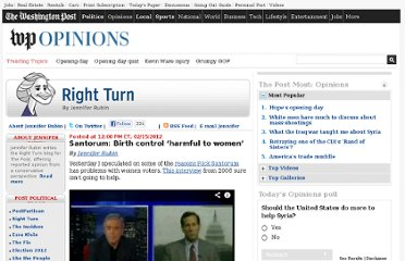 http://www.washingtonpost.com/blogs/right-turn/post/santorum-birth-control-harms-women/2012/02/15/gIQASRukFR_blog.html
