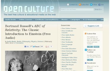 http://www.openculture.com/2012/02/bertrand_russells_iabc_of_relativityi_the_classic_introduction_to_einstein_available_in_free_audio.html