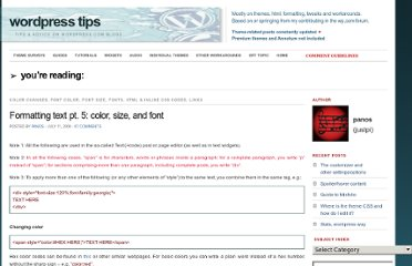 http://wpbtips.wordpress.com/2009/07/11/formatting-text-pt-5/