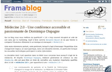 http://www.framablog.org/index.php/post/2010/03/06/medecine-2-0-dominique-dupagne