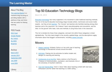 http://bestonlinemastersdegrees.com/2010/top-50-education-technology-blogs/