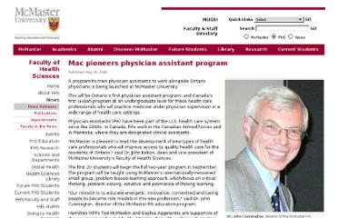 http://www-fhs.mcmaster.ca/main/news/news_2008/physician_assistant_program.html