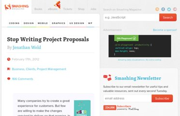 http://www.smashingmagazine.com/2012/02/17/stop-writing-project-proposals/