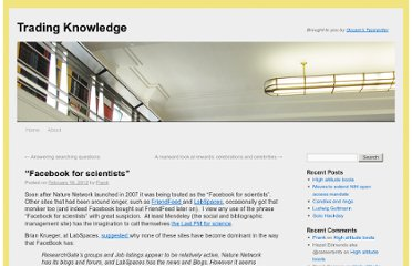 http://occamstypewriter.org/trading-knowledge/2012/02/16/facebook-for-scientists/