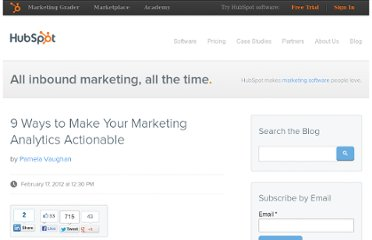 http://blog.hubspot.com/blog/tabid/6307/bid/31412/9-Ways-to-Make-Your-Marketing-Analytics-Actionable.aspx