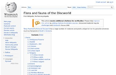 http://en.wikipedia.org/wiki/Flora_and_fauna_of_the_Discworld