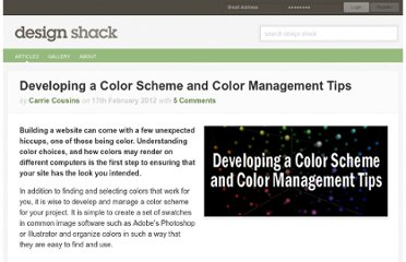 http://designshack.net/articles/inspiration/developing-a-color-scheme-and-color-management-tips/