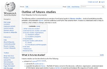http://en.wikipedia.org/wiki/Outline_of_futures_studies