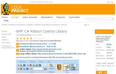 http://www.codeproject.com/Articles/23199/WPF-C-Ribbon-Control-Library