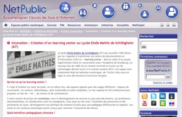 http://www.netpublic.fr/2012/02/innovation-creation-learning-center-lycee-emile-mathis-schiltigheim/
